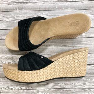 UGG Alvina Black Suede Platform Slide Sandal